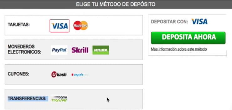 Sportium métodos de pago